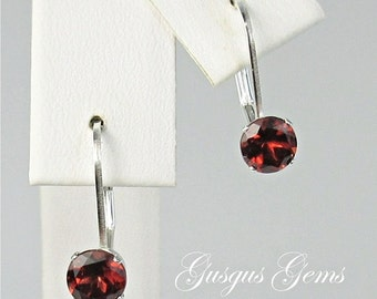 Garnet Sterling Silver Leverbacks 5mm 1.45ctw Natural Untreated