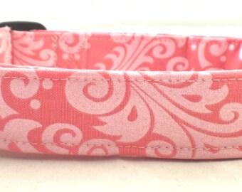 Forever Fabulous Silver Metallic Damask on Light Pink Dog Collar