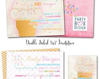 Baby Girl Ice Cream Sprinkle Invitation