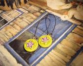 Bright GREEN and PURPLE ceramic STAR design earrings