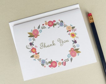 Floral Thank You Card Set of 10 with Envelopes