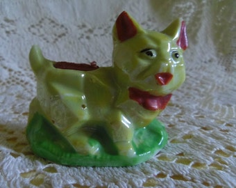 Lustreware Cat Pin Cushion Art Deco Cubist Yellow Lusterware Japan AS IS