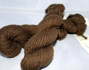 30% off STORE CLOSING SALE Recycled Moss Brown Lambswool Blend Yarn, Worsted Weight Yarn - 253 Yards