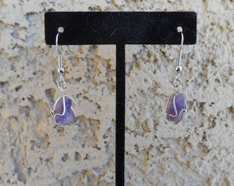 Wire-Wrapped Amethyst Earrings