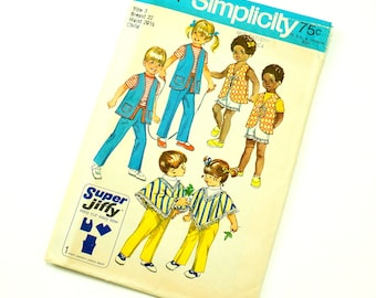 Vintage 1970s Childs Size 3 Super-Jiffy Pants in Two Lengths, Vest and Poncho Simplicity Sewing Pattern 9184  / Factory Folds