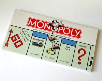 Vintage 1980s Board Game / Parker Brothers Monopoly 1985 Sealed NOS / The Real Estate Trading Game