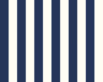 La Creme Dots and Stripes Riley Blake Fabric One Inch Wide Stripe Creamy White with Navy Blue