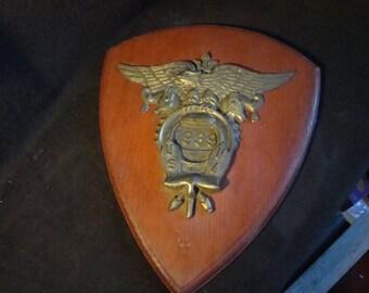 Vintage 1939 USNA United States Naval Academy Plaque bronze wood