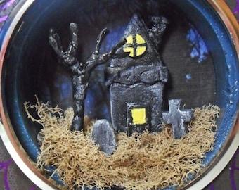 Haunted House Miniature Diorama - Clock Case Shadow Box - Gothic Miniature Art - Halloween Decor