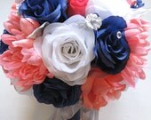 Reserved listing Wedding Bouquet flowers Bridal silk 11 piece Package CORAL NAVY White SILVER Bridesmaid corsage RosesandDreams