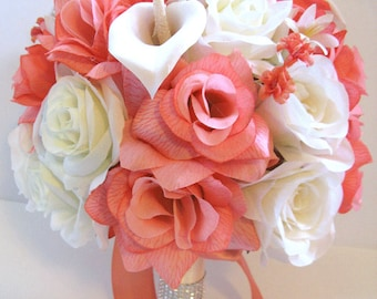 17 pcs Wedding Silk flower Bouquet Bridal Package peach CORAL CREAM CALLA Lily ivory Centerpieces RosesandDreams