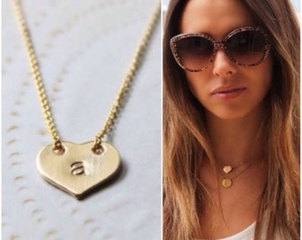 Initial Heart Necklace - 14K Goldfilled - Choose your Initial