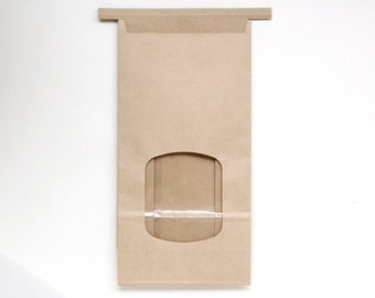 50 Kraft Paper Bakery Bags with Window, Brown Tin Tie Bags, Candy Buffet Bags, Wedding Favor Bags, Cookie Packaging, Coffee Bags