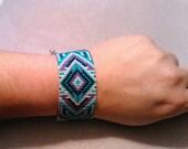 Beaded Bracelet Cuff 8 inches plus