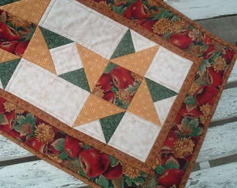 Table Runner Apple Fall Floral Quilted