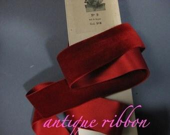 Vintage red velvet ribbon French velvet ribbon antique ribbon rayon w silk velvet ribbon  1 5/8 inch ruby red
