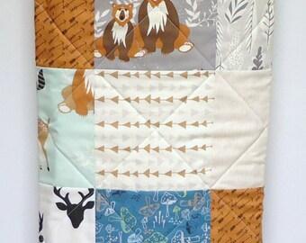 Rustic Baby Quilt-Modern Woodland Baby Boy Crib Bedding-Hello Bear-Deer-Fox Baby Blanket-Art Gallery Fabrics-Gray-Mint-Teal-Navy-Arrows