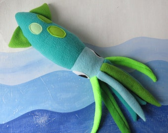Turquoise Squid Plush, Squid Toy, Humboldt Squid