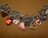 Valentines Day Charm, Beaded Hearts Crystal Mom Bracelet