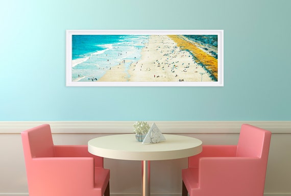 Panorama Shore // Extra Large Photography Print // New Jersey Shore Beach Photograph // Aqua Blue Waters and Miles of Sand for a Modern Home