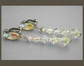 Lewis Segal Crystal Earrings, Lewis Segal Rhinestone Earrings, Aurora Borealis Earrings, Long Earrings, Bridal Earrings, Wedding Jewelry