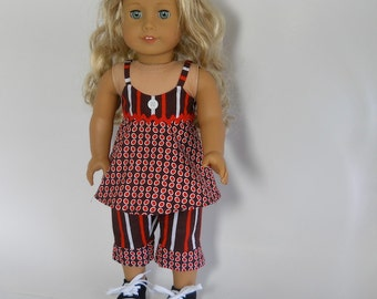 18 inch doll clothes, 2 piece outfit, Brown Striped Top and  Capris, 02-0032