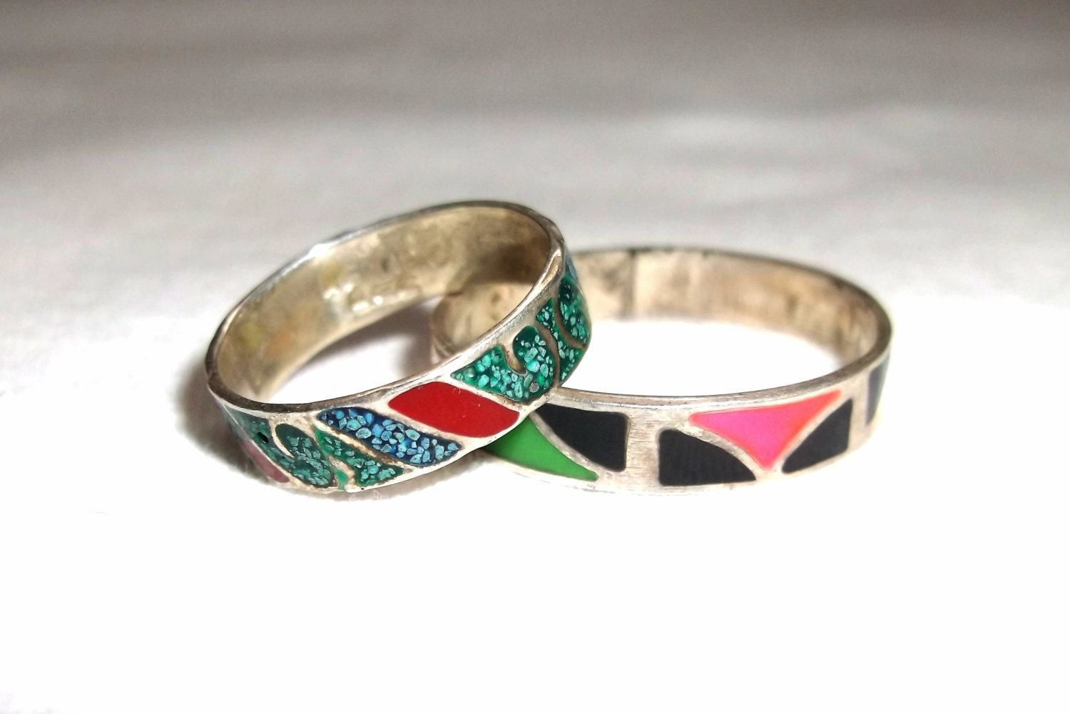 vintage enamel color type mexico 925 silver rings 2 count