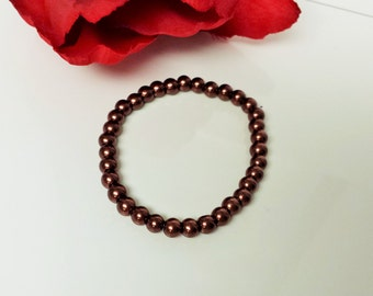 Cocoa Brown 6mm Glass Pearl Bracelet for Bridesmaid, Flower Girl or Prom