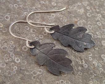 Oxidized Silver Oak Leaf earrings