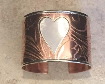 Beautiful Copper & Sterling Silver Cuff Bracelet