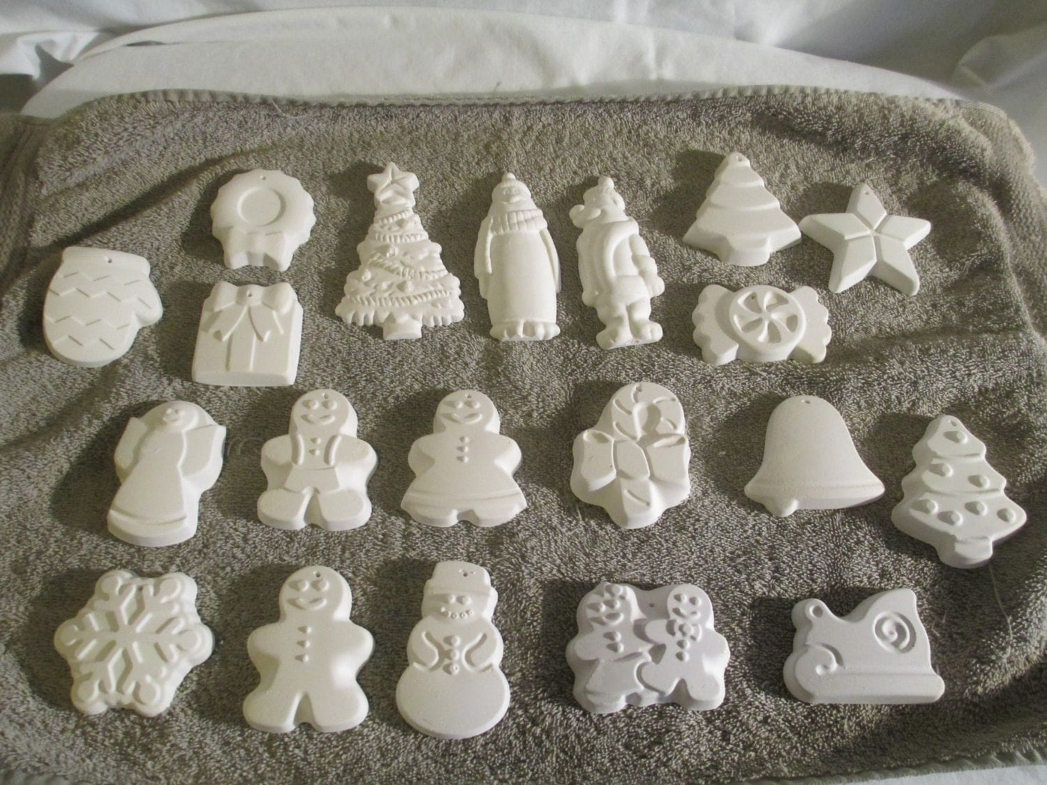 Christmas ornaments ready to paint plaster all by for Plaster crafts to paint