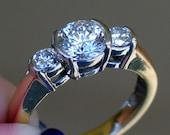 14k yellow white gold present past future diamond wedding / engagement / anniversary ring 1.33 cts.