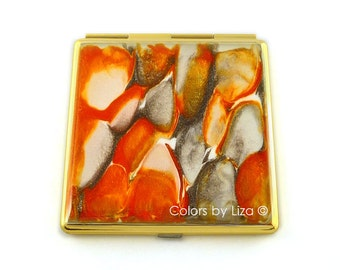 Square Compact Mirror Hand Painted Enamel in Orange Taupe and White Quartz Inspired Pocket Mirror Custom Colors and Personalized Options