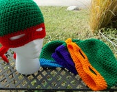 Turtles TMNT crochet hat and mask FREE SHIPPING