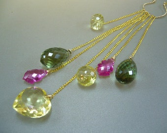 Lemon Topaz Heart Green Amethyst Pink Topaz Gold Necklace