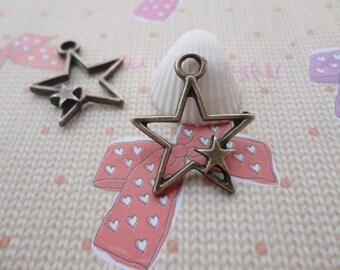 50pcs 25x20mm Pentagram/Star Antique Bronze Retro Pendant Charm For Jewelry Pendant