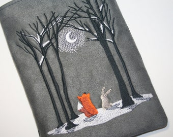 Fox and Hare embroidered Kindle Sleeve