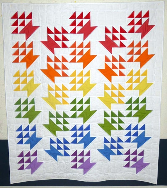 Rainbow baskets modern solid bed quilt