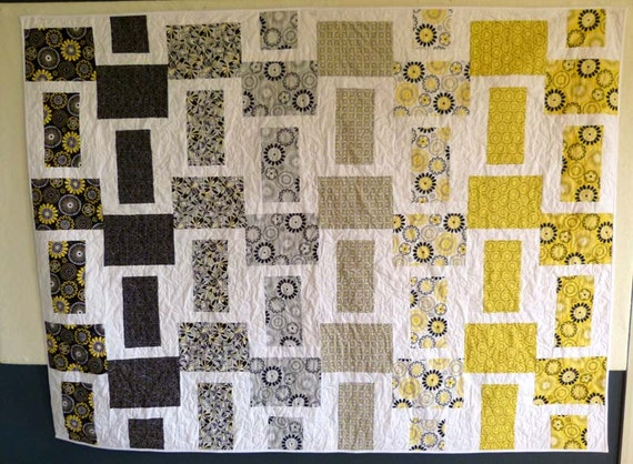 Modern blocks flower quilt black grey yellow and white floral throw or wall hanging