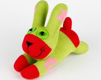 Free Shipping Handmade Sock Rabbit/bunny Stuffed Animal Doll Baby Toys