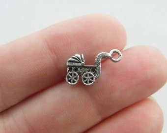 8 Baby pram charms antique silver tone BS50