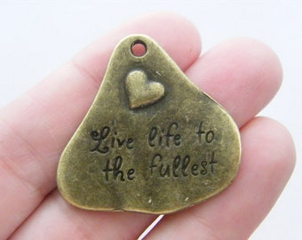 2 Live life to the fullest pendants antique bronze tone BC14