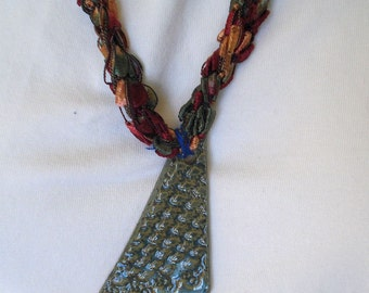 Dark Jewel-Tone Textile Necklace with Gray Ceramic Pendant - Fiber Jewelry