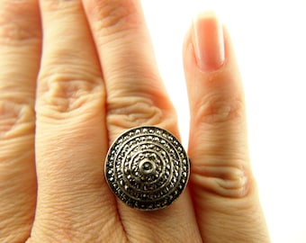 Deco Marcasite Circle Ring - Sterling Silver - Vintage