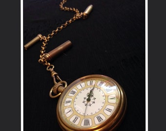 Your Time Has Come Pocket Watch With Chain and Bullet Casings - (Great Holiday Gift) Steampunk Edwardian Vintage Retro