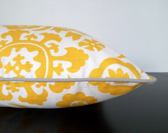 Flower dog bed cover in 25x36, yellow dog pillow case, ikat floor cushion, floral dog cushion cover, yellow and grey floor pillow