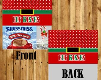 Elf Kisses Bag Topper / Elf Favor Bag Topper / Christmas Bag Topper / School Bag Topper / Hot Chocolate Bag Topper / Printable Christmas