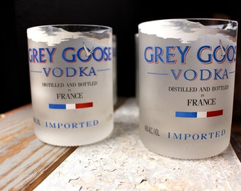 Grey Goose Cocktail Glasses Rocks Cups - Set of 2 - Optional Wooden Gift Box