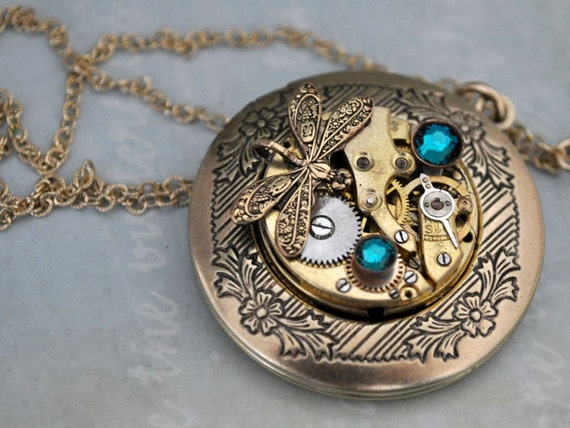 cf23d930e Vintage gold color plated watch movement sets in custom ordered antiqued gold  plated over based locket. It hangs on 18 inch 14K gold filled textured  cable ...