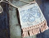 BOHO linen shoulder bag, hand embroidered/ ecru cornflower blue pale blue